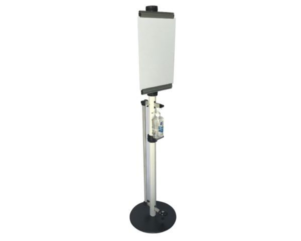 Aluminium Foot operated Hand Sanitizer stand for A3 Display Board