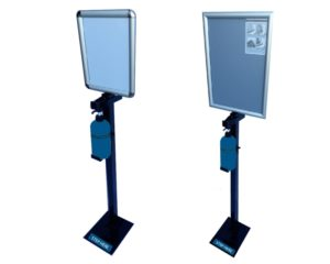 Steel Foot operated Hand Sanitizer, with A3 or A4 Snap Frame